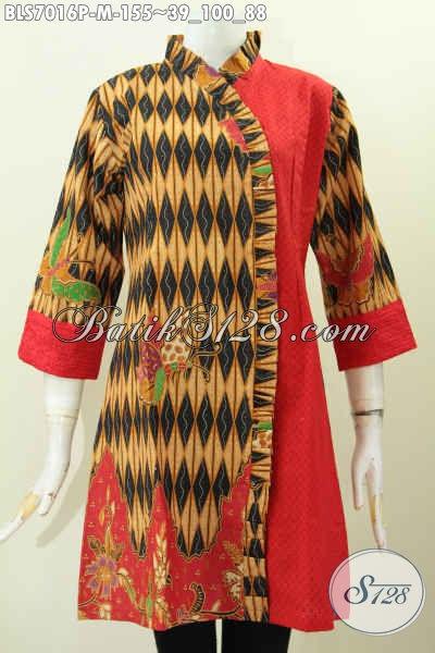 Blus Desain Istimewa Dan Mewah, Produk Baju Batik Solo Masa Kini Bahan Kombinasi Kain Embos Motif Printing Hanya 155K, Size M