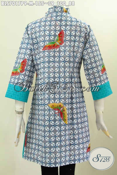 Sedia Pakaian Kerja Bahan Batik Printing Kombinasi Emboss Kwalitas Istimewa, Bikin Penampilan Mempesona, Size M