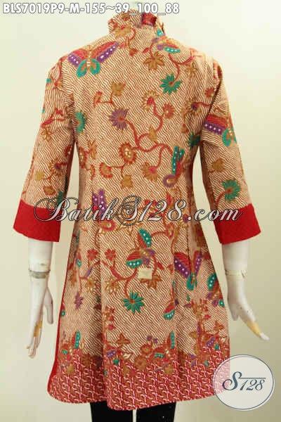 Baju Batik Kombinasi Emboss Blus Batik Wanita Kerja Model
