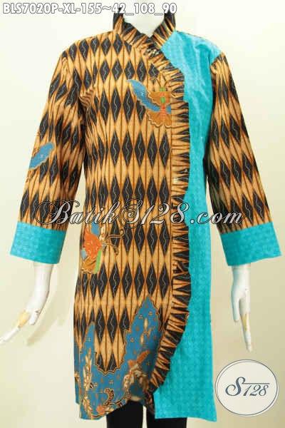 Blus Batik Printing Mewah Model Terkini Bahan Kombinasi Emboss Harga 100 Ribuan Tampil Anggun Menawan, Size XL