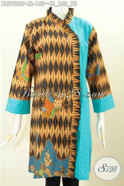 Baju Batik Cewek Kombinasi Kain Emboss Blus Batik Modern Buatan