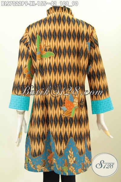 Baju Batik Cewek Kombinasi Kain Emboss, Blus Batik Modern Buatan Solo Motif Keren Proses Printing Hanya 155K, Tampil Gaya Dan Keren [BLS7022P-XL]