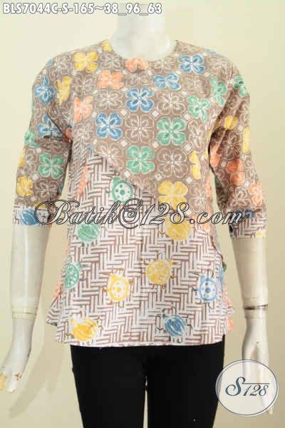 Blus Model Silang, Pakaian Batik Keren Lengan Pakai Kancing, Tampil Modis Dan Bergaya, Size S