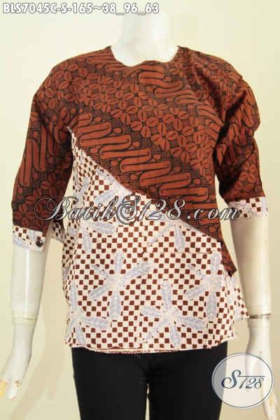 Baju Blus Kombinasi 2 Motif, Pakaian Batik Keren Model Silang Wanita Terlihat Modis Banget, Size S