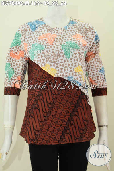 Blus Batik Dual Motif, Pakaian Batik Modern Klasik Desain Silang Bahan Halus Proses Cap, Cocok Untuk Pesta Dan Busana Kerja [BLS7049C-M]