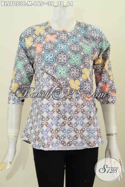 Baju Batik Atasan Wanita Keren Dan Istimewa, Blus Batik Solo Halus 2 Warna Model Silang Yang Bikin Penampilan Lebih Anggun Dan Stylish [BLS7053C-M]