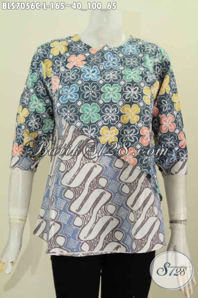 Baju Batik Kantor Wanita Murrah, Busana Batik Proses Cap Model Silang Dengan Kombinasi 2 Waran Dan Motif Hanya 100 Ribuan [BLS7056C-L]