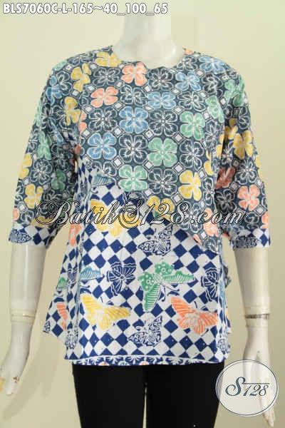 Busana Batik Trendy Dan Modis, Baju Batik Wanita Buat Kerja, Blus Batik Model Silang Dual Motif Proses Cap Harga 100 Ribuan [BLS7060C-L]