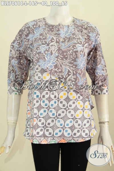 Toko Baju Batik Solo Online, Sedia Baju Batik Wanita Casual 2 Motif Desain Silang Lengan Pakai Kancing Hanya 165 Ribu [BLS7061C-L]