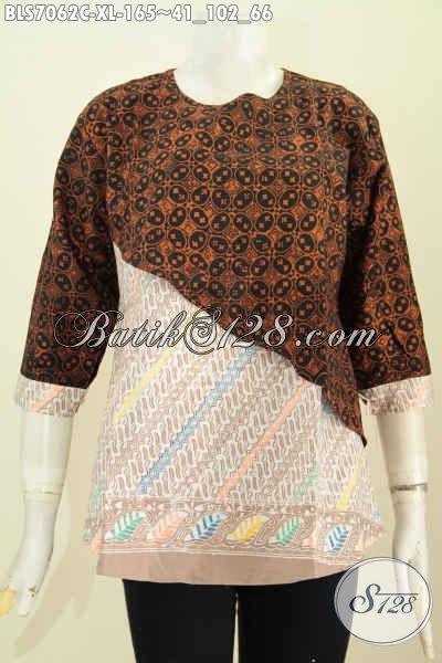 Blus Batik Keren 2 Motif, Busana Batik Modern Modern Klasik Proses Cap Lengan Pakai Kancing, Size XL