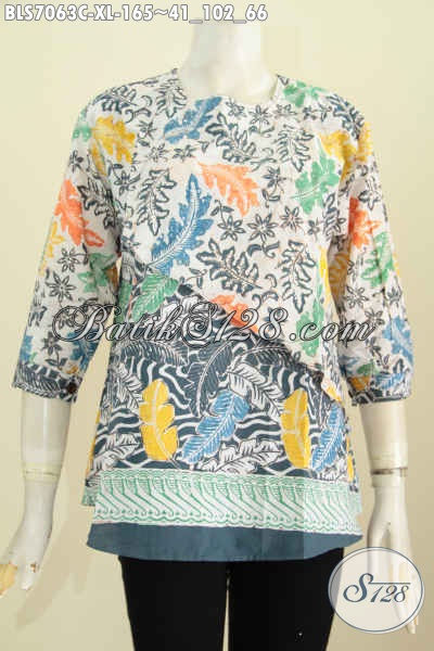 Batik Blus Modis, Baju Batik Wanita Buatan Solo, Hadir Dengan Desain Silang Kombiasi 2 Motif Dan Lengan Pakai Kancing, Keren Banget [BLS7063C-XL]
