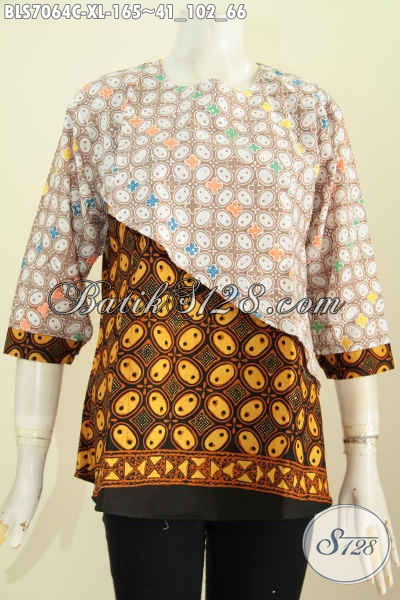 Baju Blus Batik Solo Modern Desain Silang Kwalitas Istimewa Untuk Penampilan Lebih Bergaya, Size XL Wanita Dewasa