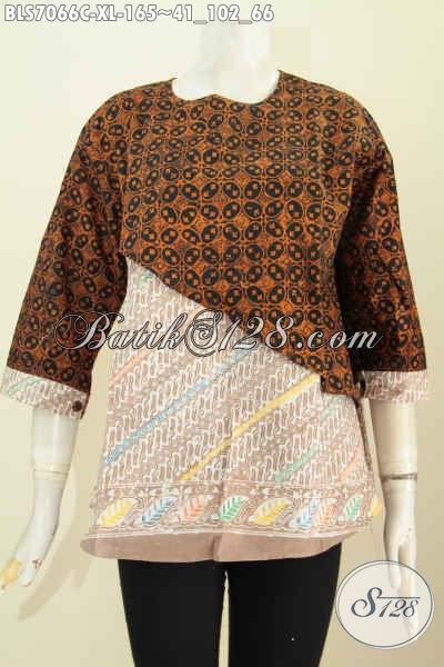 Baju Batik Wanita Elegant, Pakaian Batik Solo Etnik Modis Keren Model Silang Kombinasi 2 Motif Lengan Di Lengkapi Kancing Harga 165K [BLS7066C-XL]