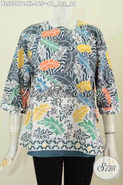Baju Blus 2 Warna Dan Motif, Baju Batik Wanita Etnik Kwalitas Istimewa Proses Cap Untuk Kerja Dan Pesta [BLS7067C-XL]