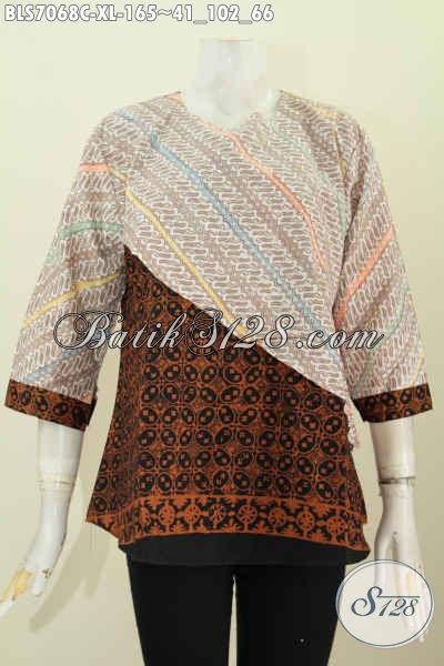 Jual Busana Batik Online, Pakaian Blus 2 Warna Dan Motif Desain Silang Buatan Solo, Pilihan Tepat Untuk Tampil Mempesona [BLS7068C-XL]