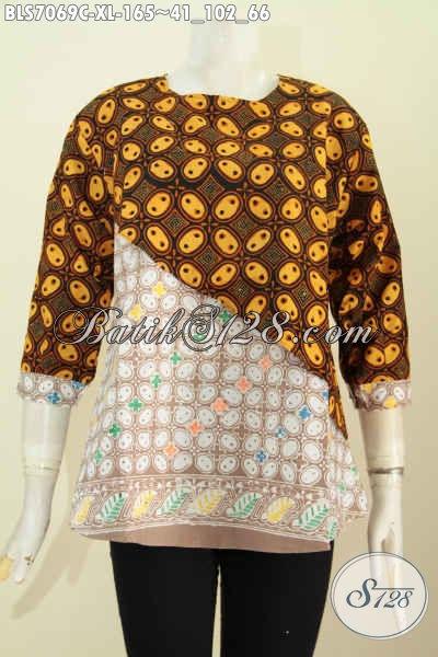 Produk Baju Kerja Wanita Terbaru, Blus Batik Modis Halus Kwalitas Istimewa Proses Cap Model Silang Kombinasi 2 Motif, Size XL