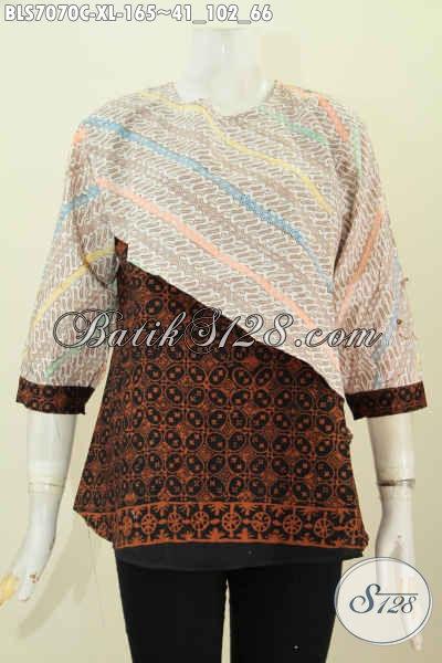 Batik Blus Paling Keren, Busana Batik Solo Halus Model silang Kombinasi 2 Warna Lengan Pakai Kancing Harga 165K