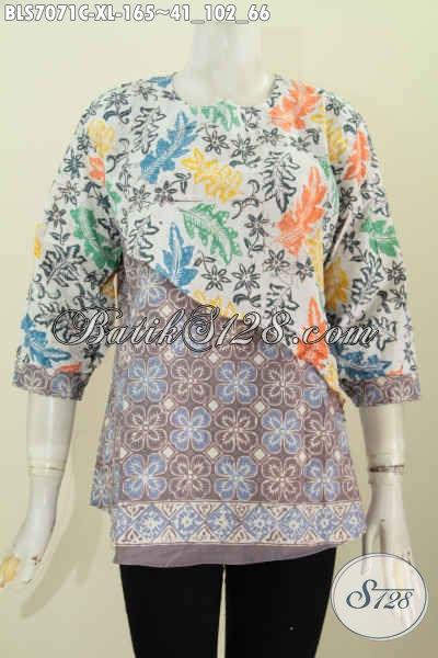 Blus Batik Keren Model Silang, Pakaian Batik Kerja Dan Jalan-Jalan Bahan Halus Proses Cap Bahan Halus, Size XL