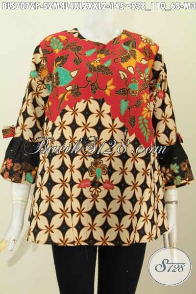 Aneka Busana Batik Wanita Modern Model Pita Lengan Trend 2020, Hadir Dengan Motif Bagus Proses Printing, Cocok Untuk Santai Dan Resmi [BLS7072P-S , M , L]