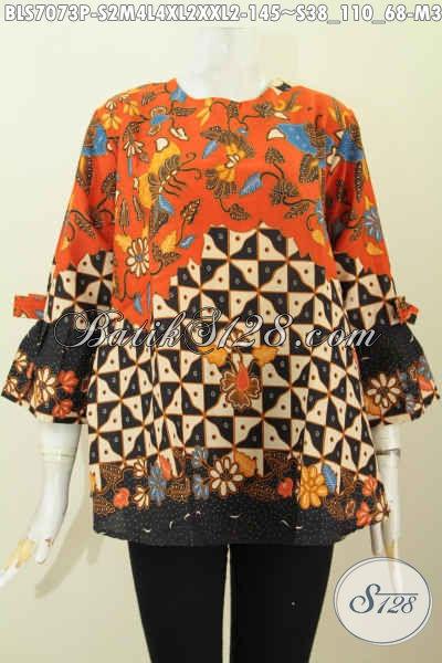 Produk Busana Batik Wanita Terkini, Blus Kere Motif Trendy Model Pita Lengan, Cocok Buat Jalan-Jalan Dan Busana Kerja Harga 145K [BLS7073P-M , L]