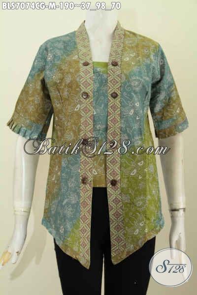 Baju Blus Istimewa Proses Cap Gradasi, Busana Batik Seksi Desain Kartini, Wanita Telihat Mempesona, Size M