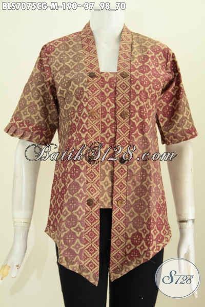 Batik Blus Kutubaru Bahan Halus Proses Cap Gradasi, Baju Batik Seksi Wanita Masa Kini Tampil Cantik Menawan, Size M