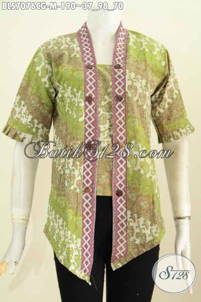 Baju Blus Model Kartini, Busana Batik Modis Elegan Bahan Adem Motif Bagus Cap Gradasi, Tampil Cantik Dan Seksi, Size M