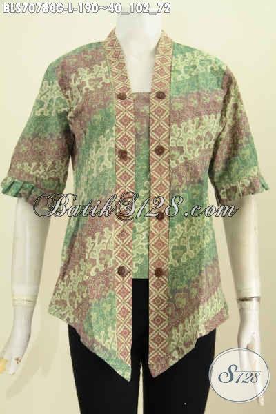 Jual Baju Blus Istimewa, Pakaian Batik Modis Trend Mode 2017 Model Kartini, Wanita Tampil Modis Dan Seksi, Size L