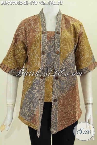 Baju Blus Seksi Wanita Dewasa Bahan Batik Proses Cap Gradasi, Pakaian Batik Berkelas Harga 190K, Size XL