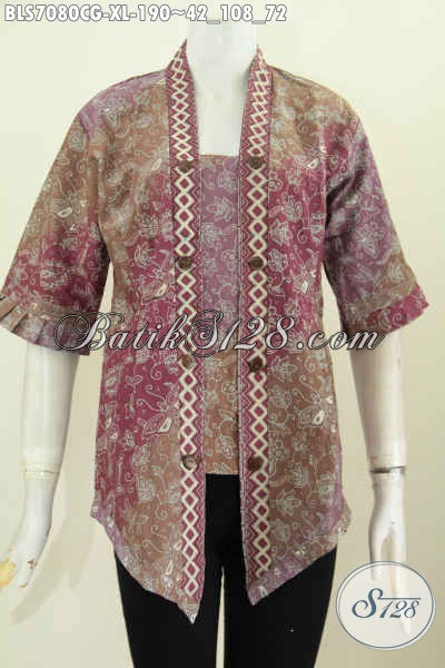 Batik Blus Elegan Dan Keren, Pakaian Batik Wanita Untuk Tampil Cantik Dan Seksi Warna Gradasi Proses Cap Model Kartini Atau Kutubaru Harga 190K [BLS7080CG-XL]