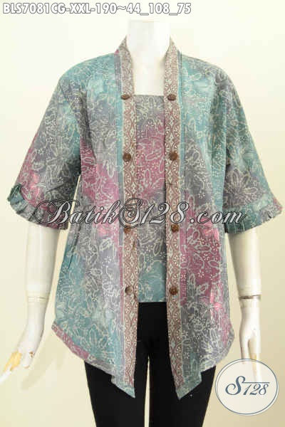 Baju Blus Elegan Mewah Desain Kutubaru, Pakaian Batik Seksi Wanita Gemuk Proses Cap Gradasi Harga 190K, Size XXL