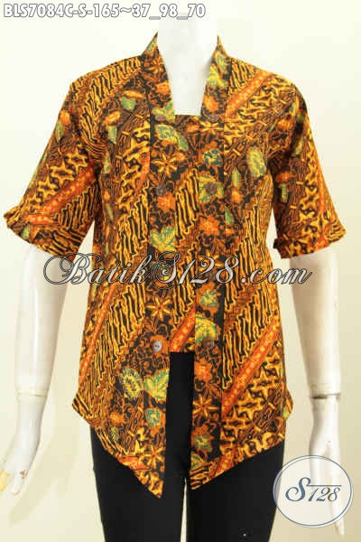 Batik Blus Kartini Motif Bagus Proses Cap, Baju Batik Wanita Sederhanan Nan ELegan, Bikin Penampilan Lebih Seksi Dan Istimewa [BLS7084C-S]