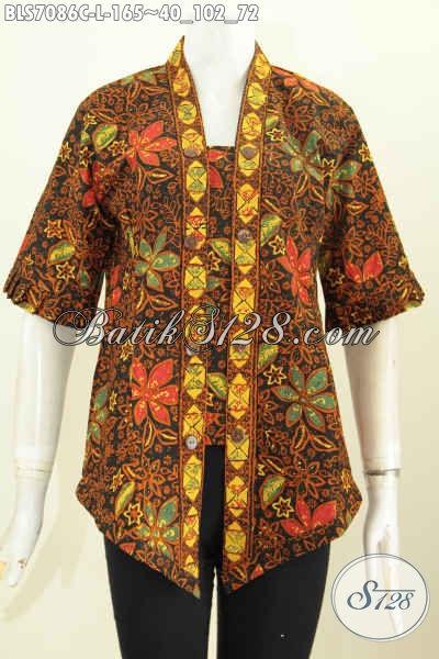 Produk Batik Blus Model Kutubaru, Busana Batik Motif Trend Masa Kini, Menunjang Penampilan Lebih Modis Proses Cap Hanya 165K, Size L