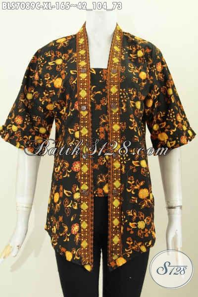 Baju Blus Ukuran XL, Pakaian Batik Wanita Model Kartini Motif Elegan Proses Cap Asli Buatan Solo Harga Terjangkau, Cocok Untuk Acara Formal [BLS7089C-XL]