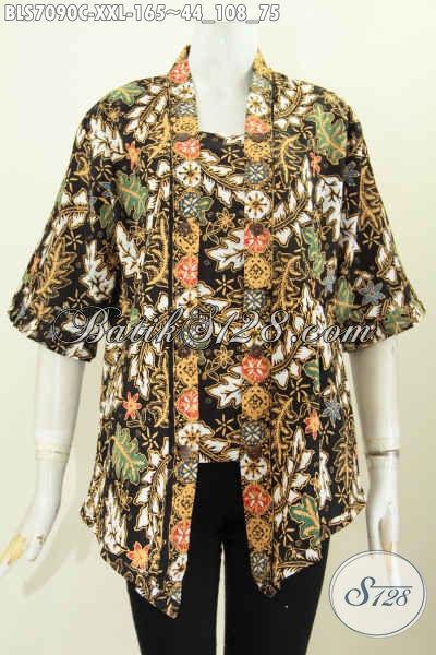 Baju Blus Elegan Model Kutubaru, Busana Batik Seksi Wanita Dewasa Buatan Solo Motif Keren Proses Cap 165K, Size XXL