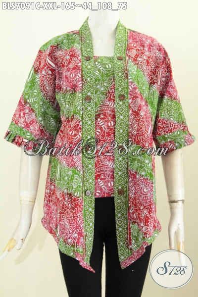 Baju Blus Batik Desain Kutubaru Nan Seksi Berpadu Dengan Kombinasi Warna Istimewa Bikin Penampilan Makin Mempesona, Proses Cap Asli Buatan Solo [BLS7091C-XXL]