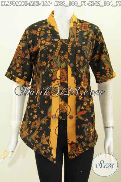 Blus Batik Kutubaru Kwalitas Istimewa Bahan Halus Proses Kombinasi Tulis, Wanita Karir Tampil ELegan Dan Berkelas, Size M – XL