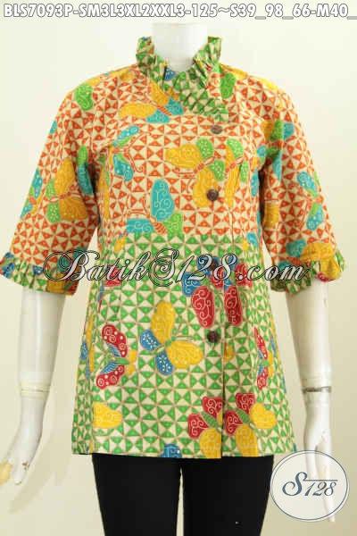 Baju Batik Wanita Trendy, Blus Batik Modern Desain Kerah Miring Rempel Motif Keren Proses Printing, Pas Buat Pesta Dan Busana Kerja Kantoran [BLS7093P-M , L , XL , XXL]