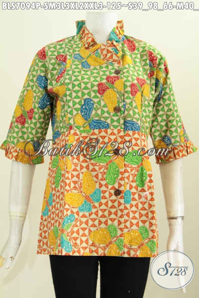 Blus Batik Dua Warna Motif Trendy Proses Printing, Baju Batik Krah Rempel Miring, Tampil Modis, Size S- M – L – XL – XXL