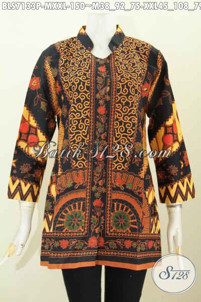Batik Blus Klasik Lengan Panjang Motif Sinaran, Busana Batik Elegan Untuk Wanita Masa Kini Dengan Kerah Shanghai Nan Berkelas [BLS7133P-XXL]