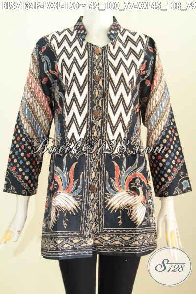Blus Batik Kerja Lengan Panjang Motif Mewah Proses Printing Desian Kerah Shanghai, Cocok Juga Untuk Wanita Berhijab, Size L