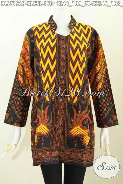 Produk Terbaru Pakaian Batik Wanita Lengan Panjang, Baju Batik Atasan Wanita Kerja Model Kerah Shanghai Motif Sinaran Proses Printing Tampil Gaya Dan Elegan [BLS7136P-XXL]