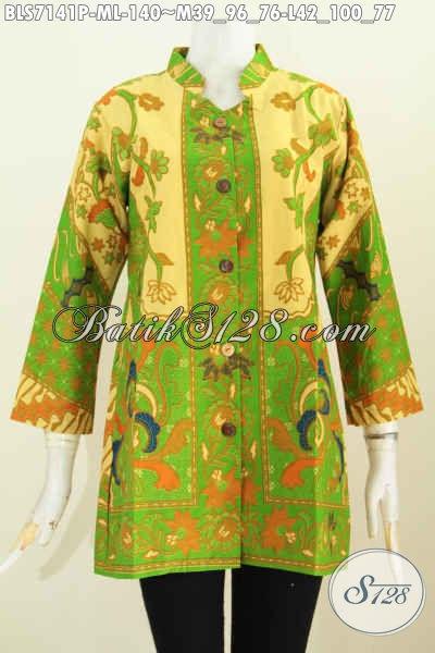 Batik Blus Hijau Untuk Wanita Masa Kini, Busana, Baju Batik Kantor Wanita Murah Lengan Panjang Kerah Shanghai, Tampil Menawan Dan Anggun [BLS7141P-M]