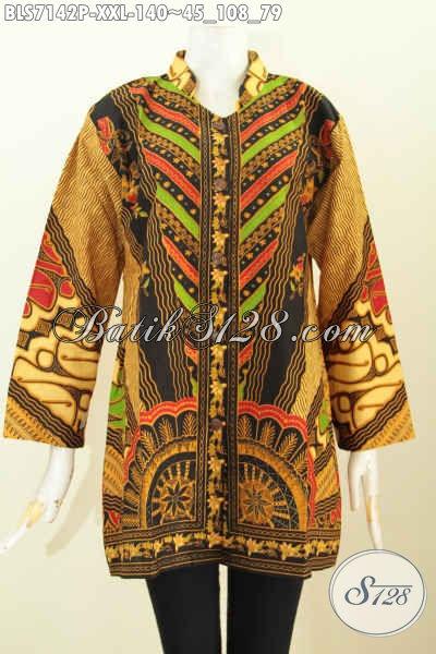 Batik Blus Lengan Panjang Wanita Gemuk Baju Batik Atasan Wanita