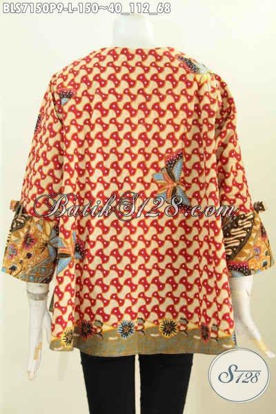 Baju Blus Batik Dengan Tali Lengan, Pakaian Batik Kerja Wanita Terbaru Mode A Dilengkapi Relseting Depan Kwalitas Bagus Hanya 150K [BLS7150P-L]