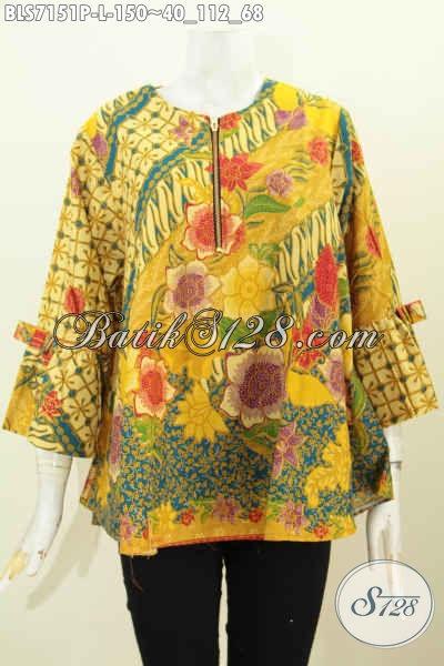 Baju Batik Kombinasi Perempuan, Blus Batik Printing Model A Bahan Halus Lengan Bertali Dan Resleting Depan, Cocok Buat Santai Dan Seragam Kerja [BLS7151P-L]