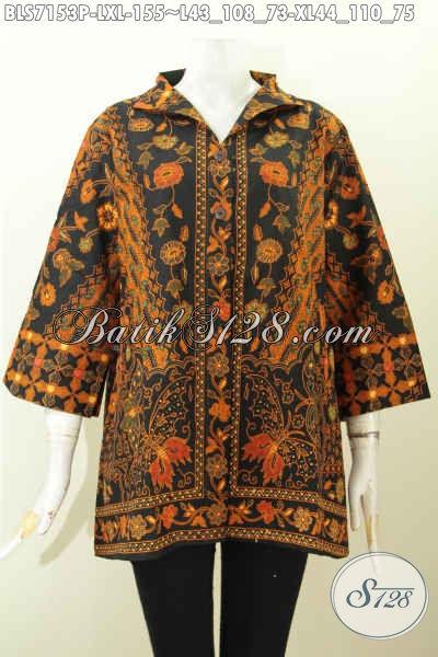 Busana Batik Elegan Bahan Halus Motif Dan Warna Klasik Model Kerah Langsung Pake Saku Kanan Kiri, Baju Batik Wanita Bekerja Untuk Tampil Cantik Dan Anggun [BLS7153P-XL]