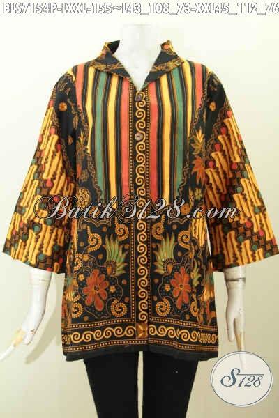 Busana Batik Wanita Dewasa, Pakaian Batik Wanita Masa Kini Untuk Tampil Gaya Dan Elegan, Bahan Halus Model Kerah Langsung Saku Kanan Kiri [BLS7154P-L]
