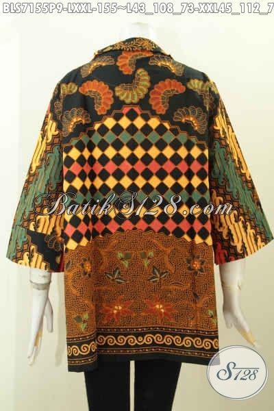 Baju Batik Wanita Berkerah, Blus Batik Seragam Kerja Pakai Saku Kanan Kiri Bahan Adem Motif Bagus Proses Printing Harga 155K [BLS7155P-L , XXL]