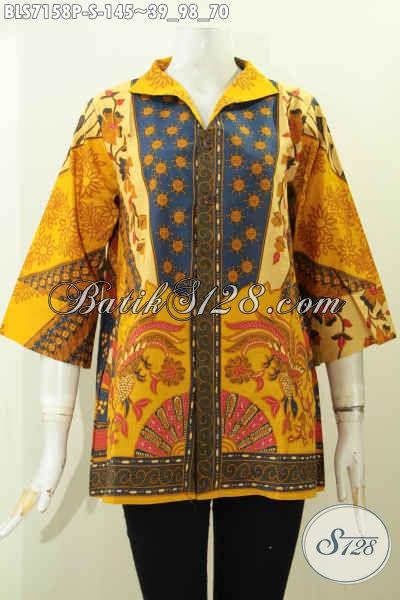 Blus Wanita Muda Kerah Langsung Bahan Batik Printing Solo Nan Berkelas, Pakaian Batik Pakai Saku Kanan Kiri Untuk Kerja Dan Kondangan [BLS7158P-S]